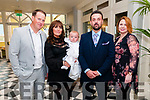 Baby Conor O'Donoghue O'Neiil with his parents Kelly O'Donoghue & Philip O'Neill, Listowel and god parents Stephen McGrath & Laura O'Connor who was christened in St Mary's Church, Listowel by Canon Declan O'Connor on Saturday lat and afterwards at the Listowel Arms Hotel.