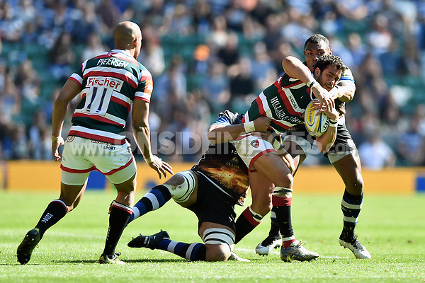Maxime Mermoz of Leicester Tigers is double-tackled. The Clash, Aviva Premiership match, between Bath Rugby and Leicester Tigers on April 8, 2017 at Twickenham Stadium in London, England. Photo by: Patrick Khachfe / Onside Images