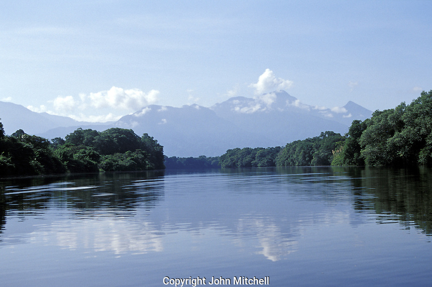 An estuary in the Cuero y Salado Wildlife Refuge near la Ceiba, Honduras. Pico Bonito in background.