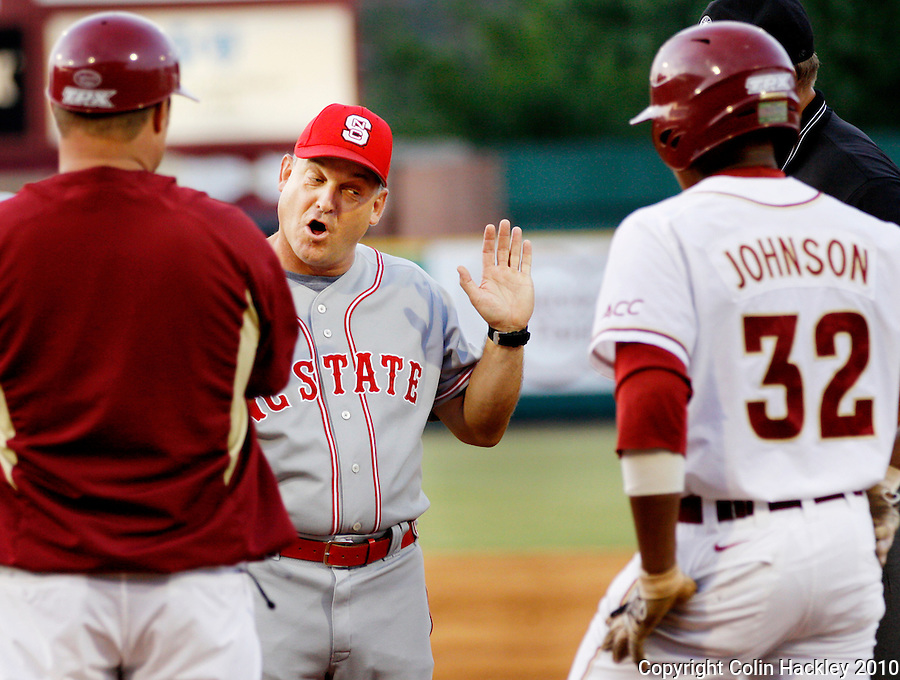TALLAHASSEE, FL 5/14/10-FSU-NC STATE BASE10 CH-N.C. State Head Coach Elliot Avent protests a call at first base during the game against Florida State Friday at Dick Howser Stadium in Tallahassee. The Wolfpack downed the Seminoles 5-2...COLIN HACKLEY PHOTO