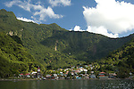 Coastal scenery in Dominica - the village of Soufriere