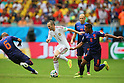 (L to R) <br /> Andres Iniesta (ESP), <br /> Jonathan de Guzman (NED), <br /> JUNE 13, 2014 - Football /Soccer : <br /> 2014 FIFA World Cup Brazil <br /> Group Match -Group B- <br /> between Spain 1-5 Netherlands <br /> at Arena Fonte Nova, Salvador, Brazil. <br /> (Photo by YUTAKA/AFLO SPORT) [1040]