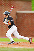 Cameron Walter #37 of the VMI Keydets follows through on his swing against the High Point Panthers at Willard Stadium on March 31, 2012 in High Point, North Carolina.  The Panthers defeated the Keydets 2-0.  (Brian Westerholt/Four Seam Images)