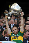 Darran O'Sullivan lifts the Sam Maguire Cup to celebrate  Kerry's victory over Donegal in the All-Ireland Football Final against  in Croke Park 2014.<br /> Photo: Don MacMonagle<br /> <br /> <br /> Photo: Don MacMonagle <br /> e: info@macmonagle.com