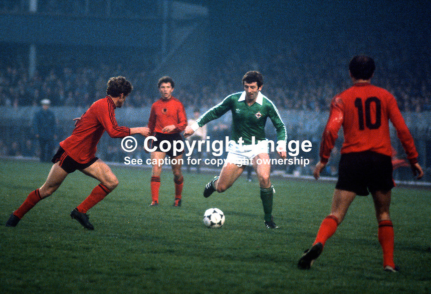 Gerry Armstrong, N Ireland & Watford, playing against Albania at Windsor Park, Belfast, 19830000GA1..Copyright Image from Victor Patterson, 54 Dorchester Park, Belfast, United Kingdom, UK...For my Terms and Conditions of Use go to http://www.victorpatterson.com/Victor_Patterson/Terms_%26_Conditions.html