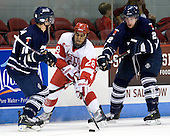 Kyle Ventura (Toronto - 14), Sahir Gill (BU - 28), Tyler Turcotte (Toronto - 2) - The Boston University Terriers defeated the visiting University of Toronto Varsity Blues 9-3 on Saturday, October 2, 2010, at Agganis Arena in Boston, MA.