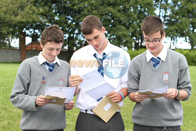 Conor McQuaile, Luke Callaghan and Barry Hynes of St Josephs get their junior cert Results Jnr Cert Results.. .Photo NEWSFILE/Jenny Matthews.