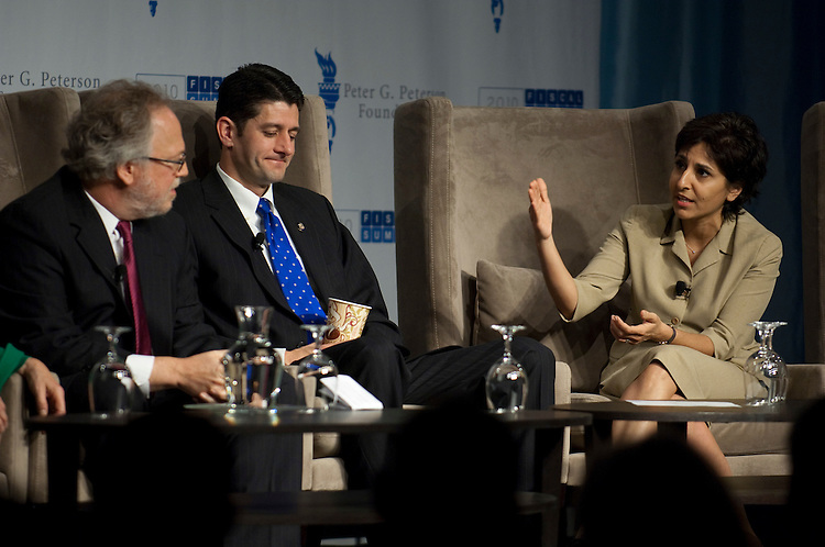 WASHINGTON, DC - April 28: Lawrence Mishel, president of the Economic Policy Institute; Rep. Paul D. Ryan, R-Wis., and a member of the National Commission on Fiscal Responsibility and Reform; and Neera Tanden, of the Center for American Progress; during a panel discussion at the 2010 Fiscal Summit sponsored by the Peter G. Peterson Foundation. (Photo by Scott J. Ferrell/Congressional Quarterly)