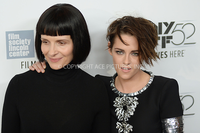 WWW.ACEPIXS.COM<br /> October 8, 2014 New York City<br /> <br /> Juliette Binoche and Kristen Stewart attending a screening of 'Clouds Of Sils Maria'  during the 52nd New York Film Festival at Alice Tully Hall on October 8, 2014 in New York City<br /> <br /> By Line: Kristin Callahan/ACE Pictures<br /> ACE Pictures, Inc.<br /> tel: 646 769 0430<br /> Email: info@acepixs.com<br /> www.acepixs.com