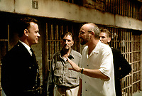 The Green Mile (1999) <br /> Behind the scenes photo of Tom Hanks, Frank Darabont, Barry Pepper &amp; Harry Dean Stanton<br /> *Filmstill - Editorial Use Only*<br /> CAP/KFS<br /> Image supplied by Capital Pictures