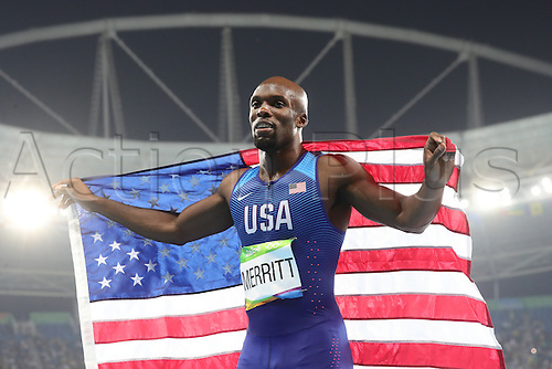 14.08.2016. Rio de Janeiro, Brazil. Bronze medalist LaShawn Merritt of USA celebrates after the Men's 400m Final of the Athletic, Track and Field events during the Rio 2016 Olympic Games at Olympic Stadium in Rio de Janeiro, Brazil, 14 August 2016.