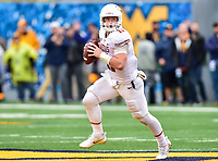 Morgantown, WV - NOV 18, 2017: Texas Longhorns quarterback Sam Ehlinger (11) rolls out of the pocket during game between West Virginia and Texas at Mountaineer Field at Milan Puskar Stadium Morgantown, West Virginia. (Photo by Phil Peters/Media Images International)