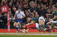 Wales' Liam Williams scores his side's second try<br /> <br /> Photographer Ian Cook/CameraSport<br /> <br /> Under Armour Series Autumn Internationals - Wales v South Africa - Saturday 24th November 2018 - Principality Stadium - Cardiff<br /> <br /> World Copyright &copy; 2018 CameraSport. All rights reserved. 43 Linden Ave. Countesthorpe. Leicester. England. LE8 5PG - Tel: +44 (0) 116 277 4147 - admin@camerasport.com - www.camerasport.com