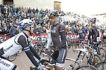 Fellow countrymen Johannes Frohlinger Team Giant Shimano and Jens Voigt (GER) Trek Factory Racing chat at sign on before the start of the 2014 Strade Bianche race over the white dusty gravel roads of Tuscany, Italy. 8th March 2014.<br /> Picture: Eoin Clarke www.newsfile.ie