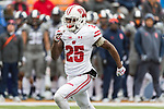 Wisconsin Badgers defensive back Derrick Tindal (25) runs down field during a punt during an NCAA College Big Ten Conference football game against the Illinois Fighting Illini Saturday, October 28, 2017, in Champaign, Illinois. The Badgers won 24-10. (Photo by David Stluka)