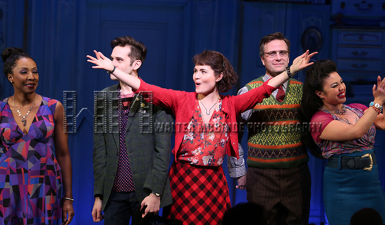 Harriett D. Foy, Adam Chanler-Berat, Phillipa Soo, Manoel Felciano, Maria-Christina Oliveras during the Broadway Opening Night Performance Curtain Call for 'Amelie' at the Walter Kerr Theatre on April 3, 2017 in New York City