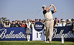 JEJU, SOUTH KOREA - APRIL 25:  Ernie Els of South Africa tees off on the 17th hole during the Round Three of the Ballantine's Championship at Pinx Golf Club on April 25, 2010 in Jeju, South Korea. Photo by Victor Fraile / The Power of Sport Images