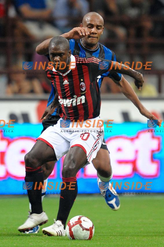 Clarence SEEDORF Milan, Douglas MAICON Inter<br /> Milano 29/8/2009 Stadio &quot;Giuseppe Meazza&quot;<br /> Campionato Italiano Serie A 2009/2010<br /> Milan Inter 0-4<br /> Foto Insidefoto