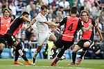 Real Madrid's Javier Chicharito Hernandez (2l) and Almeria's Mauro Dos Santos (l), Ximo Navarro (c) and Corona (r) during La Liga match. April 29,2015. (ALTERPHOTOS/Acero)