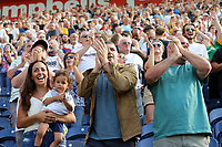 Preston North End fans celebrate at the final whistle<br /> <br /> Photographer Rich Linley/CameraSport<br /> <br /> The EFL Championship - Preston North End v Sheffield Wednesday - Saturday August 24th 2019 - Deepdale Stadium - Preston<br /> <br /> World Copyright © 2019 CameraSport. All rights reserved. 43 Linden Ave. Countesthorpe. Leicester. England. LE8 5PG - Tel: +44 (0) 116 277 4147 - admin@camerasport.com - www.camerasport.com