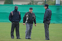 17 October 2010: Umpires Serge Makouchetchev, Fabien Carrette-legrand, et Franck Lautier are seen during Rouen 10-5 win over Savigny, during game 2 of the French championship finals, in Savigny sur Orge, France.