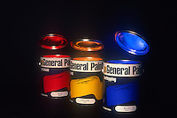 Paint Cans - Red, Blue, yellow, commercial advertising Photography for Paint Company