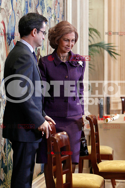 Queen Sofia of Spain attends the CREFAT Foundation Awards at Zarzuela Palace in Madrid.November 06, 2012.(ALTERPHOTOS/Harry S. Stamper) /NortePhoto .<br />