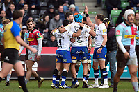 Matt Banahan of Bath Rugby celebrates his first half try with team-mates. Aviva Premiership match, between Harlequins and Bath Rugby on March 2, 2018 at the Twickenham Stoop in London, England. Photo by: Patrick Khachfe / Onside Images