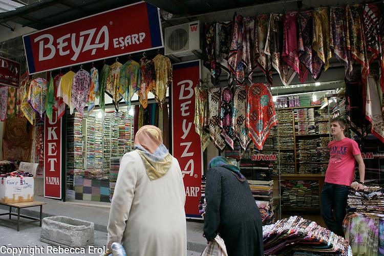 Shop selling headscarves in Tahtakale, Eminonu, Istanbul, Turkey