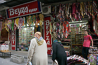 Shop selling headscarves in Tahtakale, Eminonu, Istanbul, Turkey