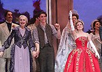 Mary Beth Peil, Derek Klena and Christy Altomare during Broadway Opening Night Performance Curtain Call bows for 'Anastasia' at the Broadhurst Theatre on April 24, 2017 in New York City.