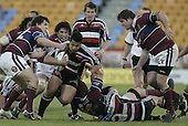 Niva Ta'auso gets plenty of Southland attention during the Air NZ Cup game between the Counties Manukau Steelers and Southland played at Mt Smart Stadium on 3rd September 2006. Counties Manukau won 29 - 8.
