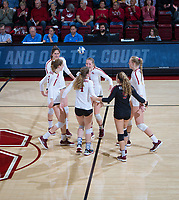 STANFORD, CA - December 1, 2018: Audriana Fitzmorris, Jenna Gray, Kathryn Plummer, Holly Campbell, Meghan McClure, Morgan Hentz at Maples Pavilion. The Stanford Cardinal defeated Loyola Marymount 25-20, 25-15, 25-17 in the second round of the NCAA tournament.