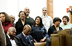 WATERBURY, CT-011518JS04---The choir sings a hymn during the Waterbury Fellowship of Christian Churches' annual Martin Lither King Jr. Day Service held Monday at Grace Baptist Church in Waterbury. <br /> Jim Shannon Republican-American