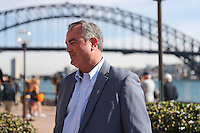 SYDNEY, AUSTRALIA - August 23, 2016:  Cal Bears Football team Australia trip.  Sonny Dykes being interviewed at the Sydney Cup press conference.