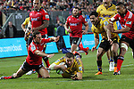 NELSON, NEW ZEALAND - MAY 29:   Dan Coles of the Hurricanes scores a try during  Round 16 Super Rugby match between the Crusaders and the Hurricanes at Trafalgar Park on May 29, 2015 in Nelson, New Zealand. (Photo by Marc Palmano/Shuttersport Limited)