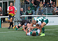 Harry Sloan of Ealing Trailfinders is congratulated on his try by Jordan Burns of Ealing Trailfinders during the RFU Championship Cup match between Ealing Trailfinders and Ampthill RUFC at Castle Bar , West Ealing , England  on 28 September 2019. Photo by Alan  Stanford / PRiME Media Images