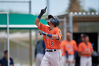 GCL Astros Jose Alvarez (6) rounds the bases after hitting a home run during a Gulf Coast League game against the GCL Marlins on August 8, 2019 at the Roger Dean Chevrolet Stadium Complex in Jupiter, Florida.  GCL Marlins defeated GCL Astros 5-4.  (Mike Janes/Four Seam Images)