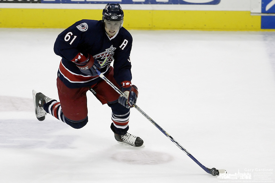 16 January 2006: Columbus Blue Jackets' Rick Nash plays against the New York Rangers at Nationwide Arena in Columbus, Ohio.<br />
