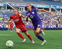 Orlando, FL - Sunday June 26, 2016: Emily Sonnett, Alex Morgan  during a regular season National Women's Soccer League (NWSL) match between the Orlando Pride and the Portland Thorns FC at Camping World Stadium.