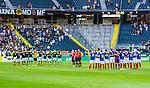 Solna 2014-07-24 Fotboll Europa League AIK - Linfield FC :  <br /> AIK:s och Linfields spelare har en tyst minut innan matchen<br /> (Foto: Kenta J&ouml;nsson) Nyckelord:  AIK Gnaget Friends Arena Linfield LFC Europa League Kval
