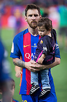 Leo Messi  and his son, Thiago Messi during the match of  Copa del Rey (King's Cup) Final between Deportivo Alaves and FC Barcelona at Vicente Calderon Stadium in Madrid, May 27, 2017. Spain.. (ALTERPHOTOS/Rodrigo Jimenez) /NortePhoto.com