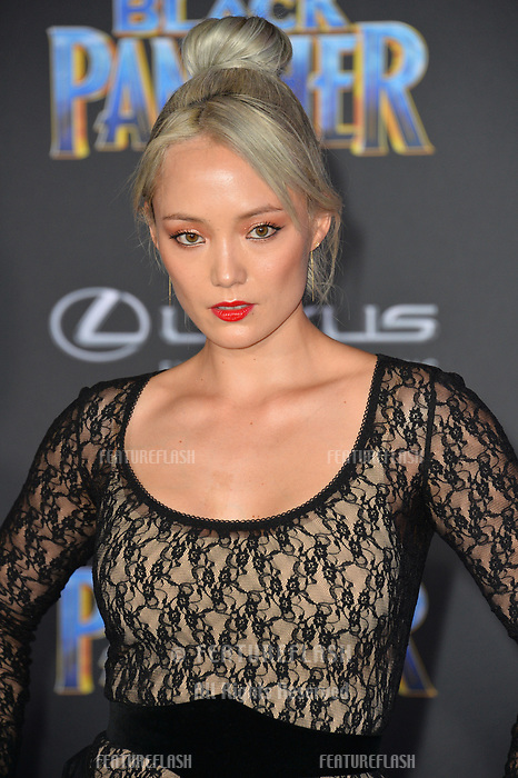 Pom Klementieff at the world premiere for &quot;Black Panther&quot; at the Dolby Theatre, Hollywood, USA 29 Jan. 2018<br /> Picture: Paul Smith/Featureflash/SilverHub 0208 004 5359 sales@silverhubmedia.com