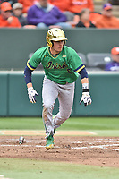 Notre Dame Fighting Irish shortstop Cole Daily (6) runs to first base during a game against the Clemson Tigers at Doug Kingsmore Stadium on March 11, 2017 in Clemson, South Carolina. The Tigers defeated the Fighting Irish 6-5. (Tony Farlow/Four Seam Images)