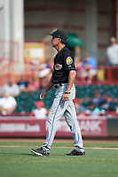 Akron RubberDucks pitching coach Tony Arnold (27) walks to the mound during a game against the Erie SeaWolves on August 27, 2017 at UPMC Park in Erie, Pennsylvania.  Akron defeated Erie 6-4.  (Mike Janes/Four Seam Images)