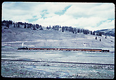 &quot;53-6 passenger train on far side of Los Pinos curve, CO.&quot;<br /> C&amp;TS (D&amp;RGW)  Los Pinos, CO  Taken by LeMassena, Robert A. - 6/1975