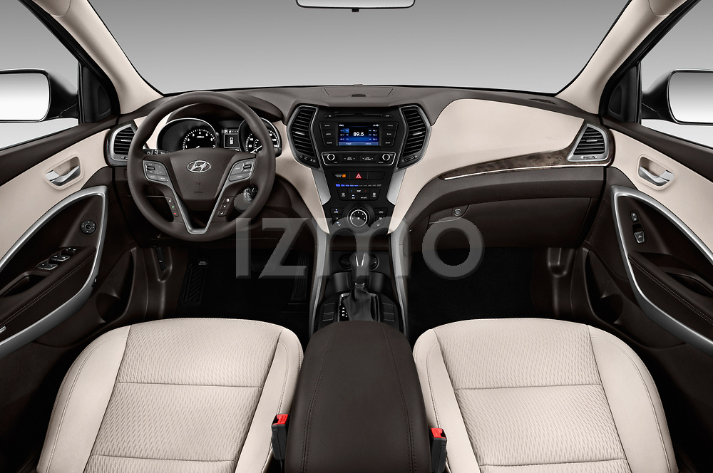 Stock photo of straight dashboard view of a 2018 Hyundai Santa Fe Sport Base 5 Door SUV