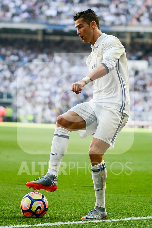 Real Madrid's Cristiano Ronaldo during La Liga match between Real Madrid and Atletico de Madrid at Santiago Bernabeu Stadium in Madrid, April 08, 2017. Spain.<br /> (ALTERPHOTOS/BorjaB.Hojas)
