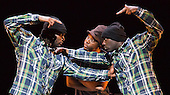 "Jonzi D, centre, with Kenrick 'H2O"" Sandy and Mikey J' Asante of Blue Boy Entertainment. Lyrikal Fearta - Redux revisits some of Jonzi's best known works, including Guilty, Shoota, Safe, Classroom, The Fast Lane and Cracked Mirror. To perform these pieces at the Lilian Baylis Studio at Sadler's Wells, Jonzi is joined by hip hop dance talent including Banxy, Bboy Tuway, Bboy Unique, Lil' Tim and from Boy Blue Entertainment Kenrick 'H2O' Sandy and Michael 'Mikey J' Asante. Photo credit: Bettina Strenske"