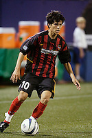 The MetroStars' Joselito Vaca. The Kansas City Wizards were defeated by  the NY/NJ MetroStars to a 1 to 0 at Giant's Stadium, East Rutherford, NJ, on May 30, 2004.